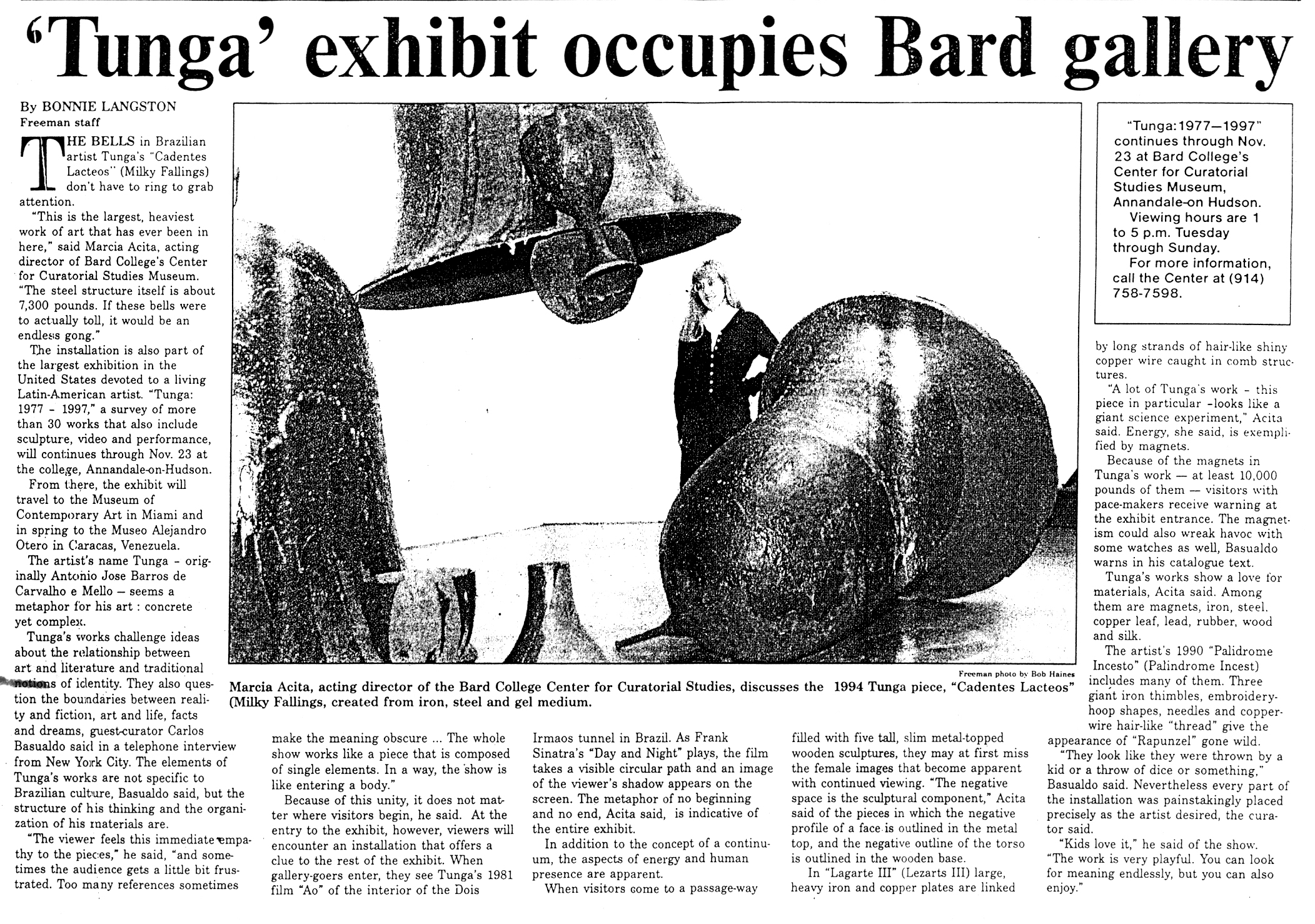 Exposição Individual – 20 years Survey 1977 – 1997 – Bard College – Center for Curatorial Studies – Annandale-on-Hudson
