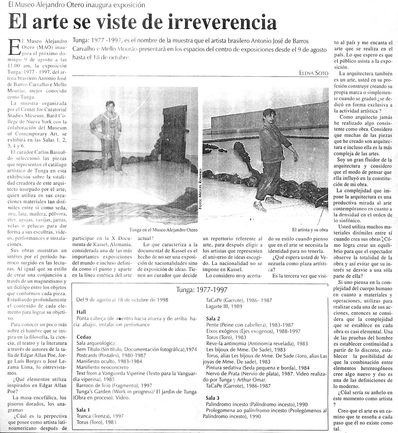 20 years Survey 1977 – 1997 – Museo Alejandro Otero – Caracas – Venezuela
