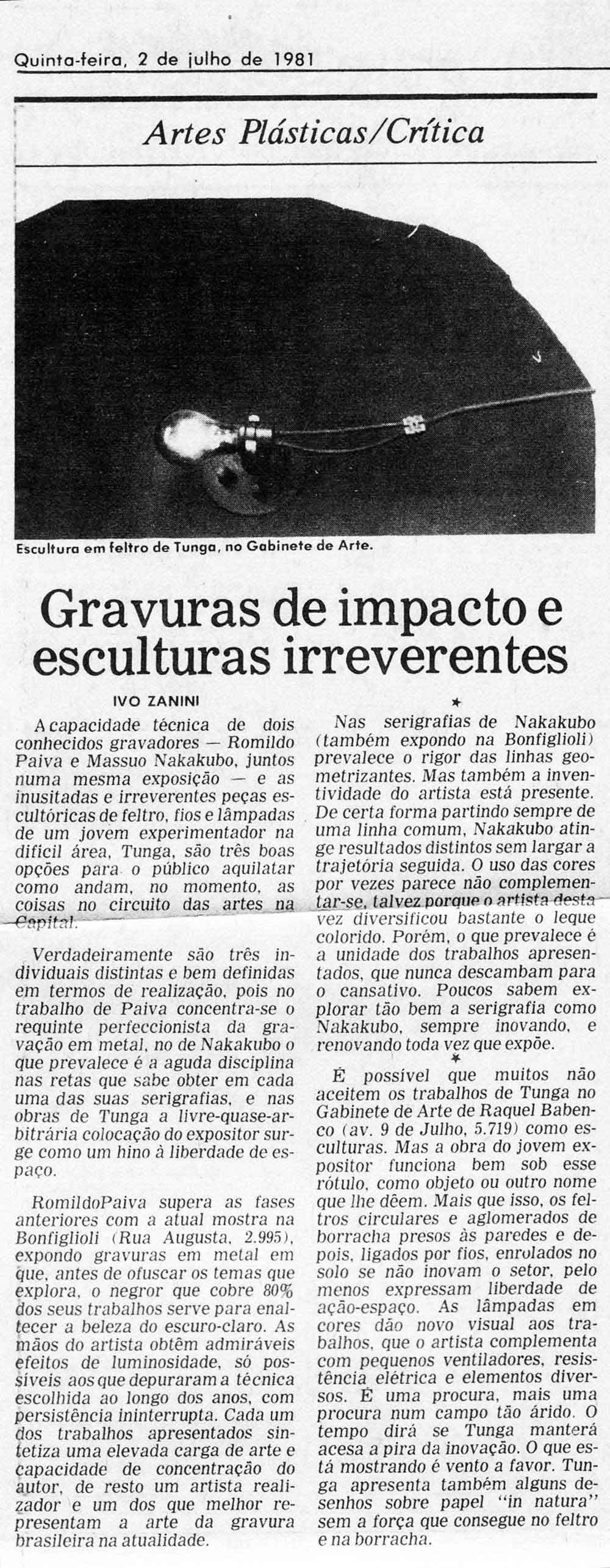 Gabinete de Arte O Globo 2 jul 1981